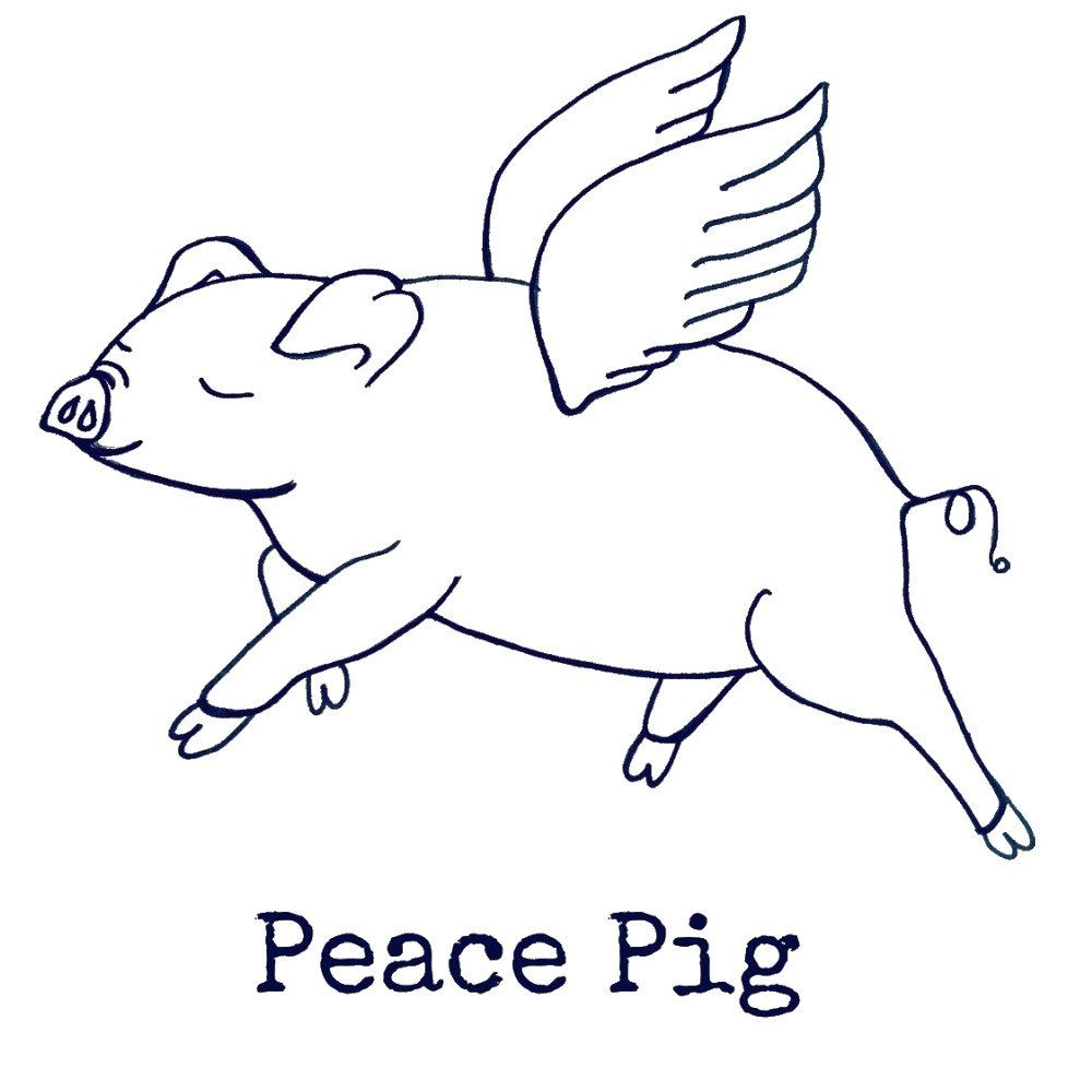 Flying Peace Pig Coloring Page Instant Download By Wisdomimages On