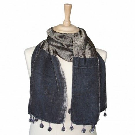 e47449e8f Silk Velvet Jacquard Scarf by Torba | Fashion | Silk, Velvet, Fashion