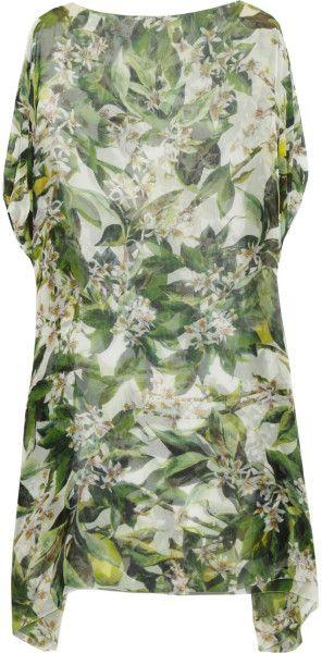 Dolce & Gabbana Green Zaraga Blossomprint Silkchiffon Tunic