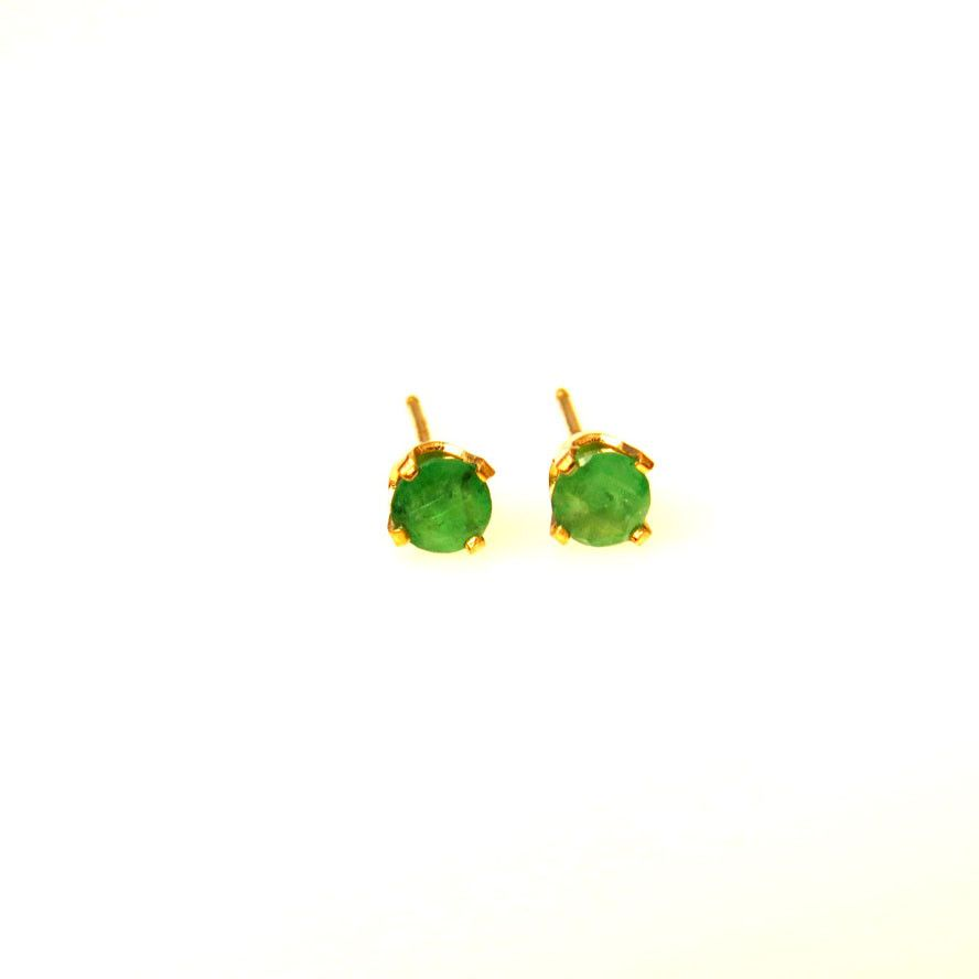 Natural Emerald Post Earring Studs 14k Gold