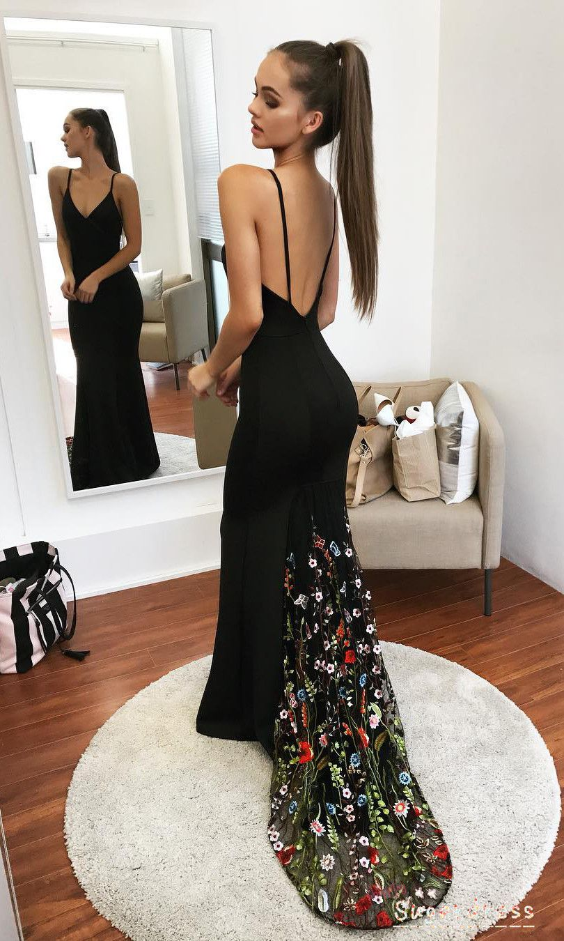 Mermaid Black Evening Dress With Floral Train Black Evening Dresses Best Formal Dresses Classy Evening Gowns [ 1350 x 810 Pixel ]