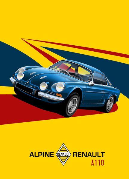 'Renault+Alpine+A110+Poster+Illustration'+von+Russell++Wallis+bei+artflakes.com+als+Poster+oder+Kunstdruck+$18.03