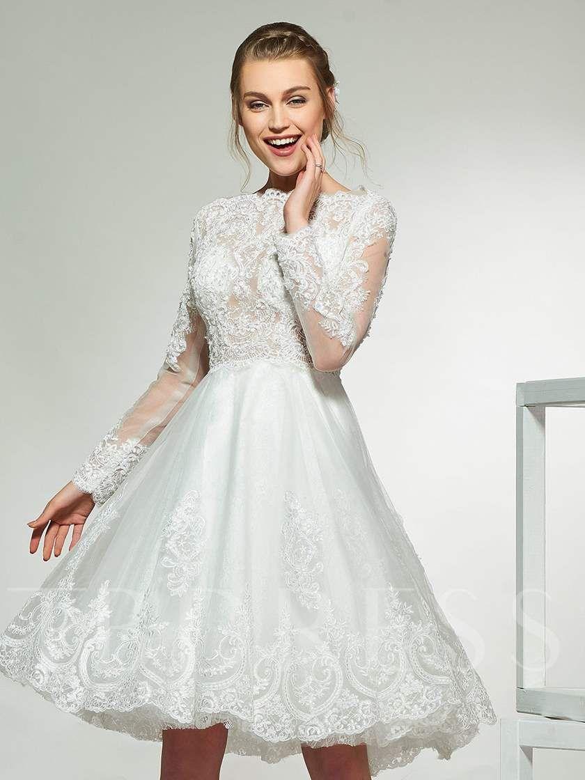 Long Sleeve Appliques Short Wedding Dress Short Wedding Dress Outdoor Wedding Dress Glamourous Wedding Dress