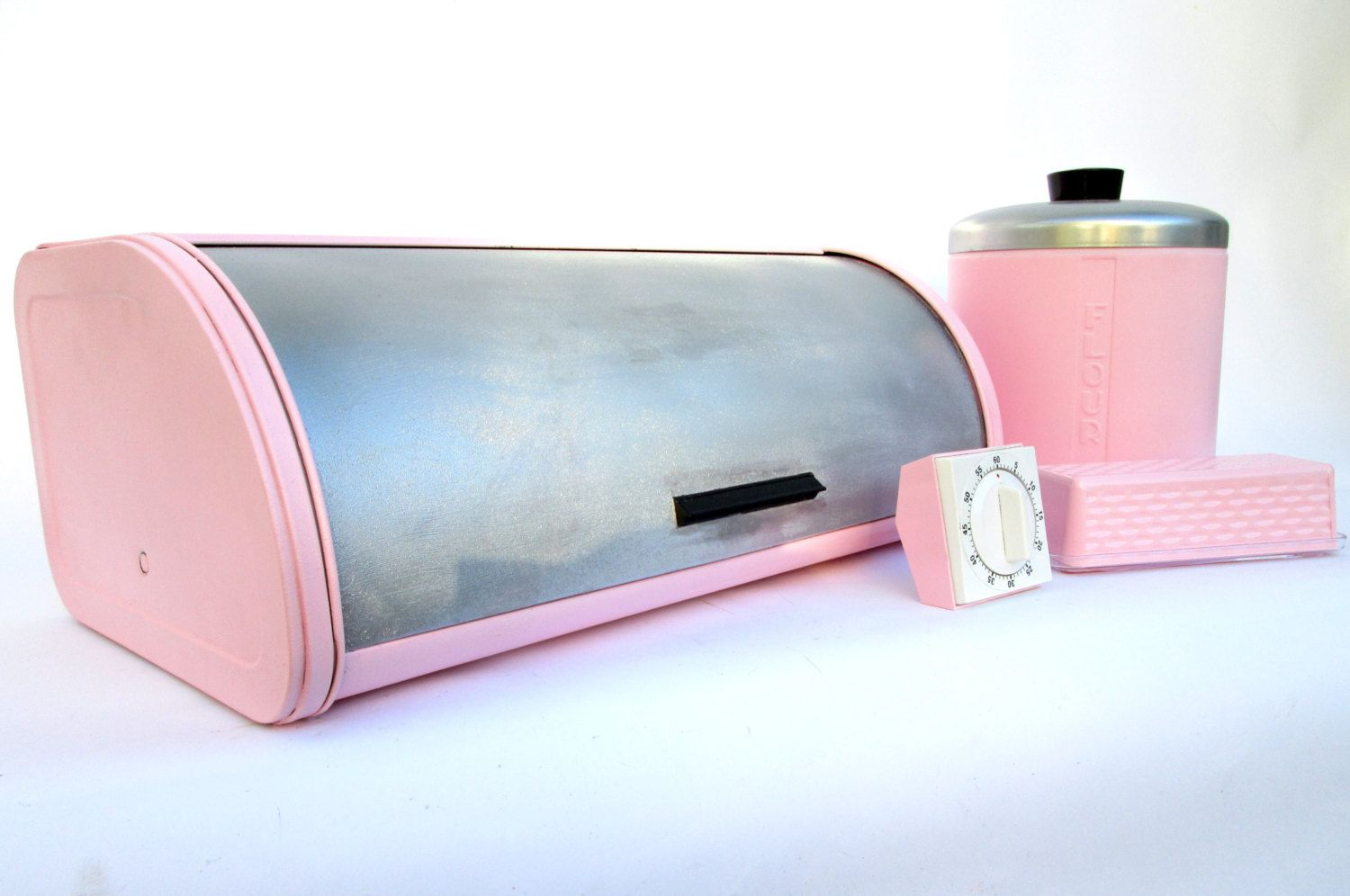 Vintage Pink Metal Breadbox Timer Butter Dish by ElectricMarigold, $120.00