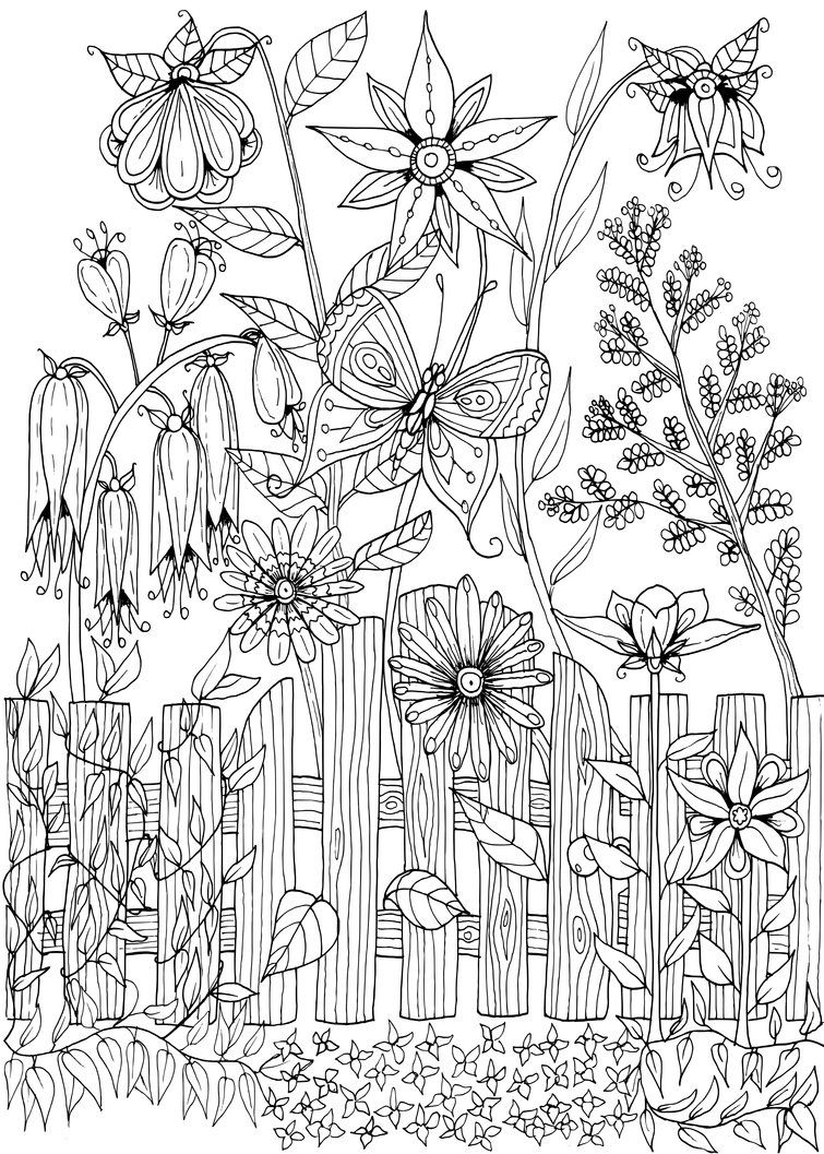 garden_gate_doodle_by_welshpixie-d8zslhq.png (755×1057) | flower ...