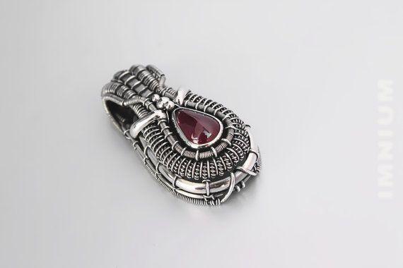 Ruby pendant bezel set & wire wrapped ruby teardrop. by IMNIUM