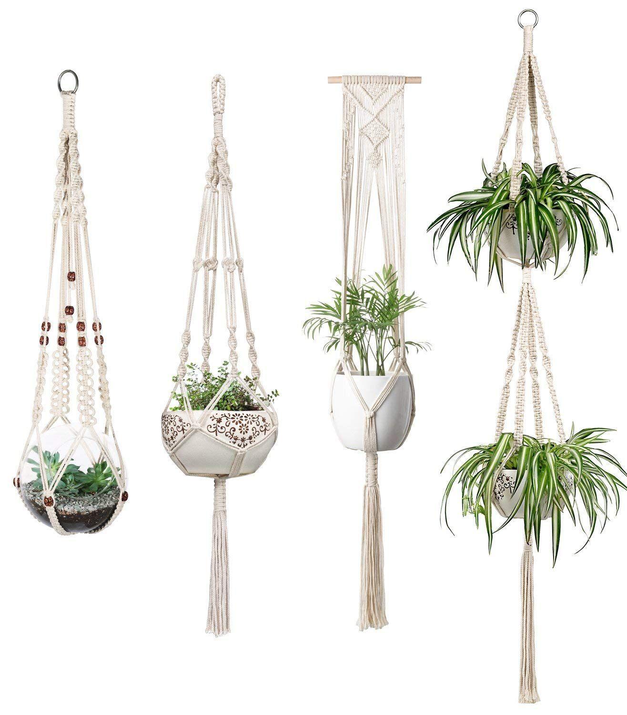 Mkono Macrame Plant Hangers Set Of 4 Indoor Wall Hanging Planter Basket Flower Pot Holder Boho Ho Hanging Plants Indoor Macrame Plant Hangers Flower Pot Holder