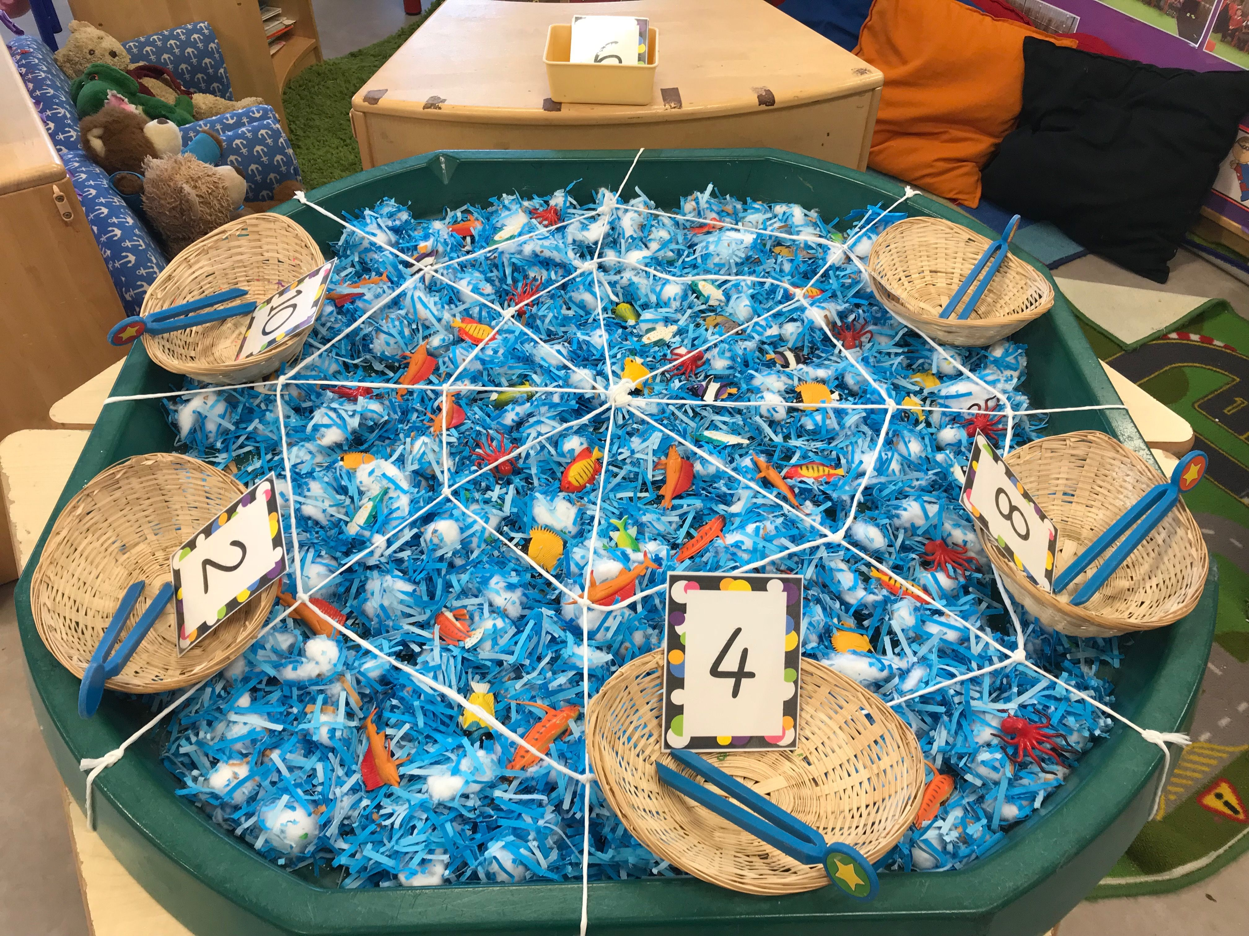 Eyfs Maths Fish Themed Finger Gym Tuff Spot With Giant Web