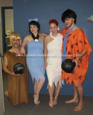 homemade flintstones group costume pearl necklace and earrings made with styrofoam balls bowling balls made with duct tape and newspaper - Flinstones Halloween