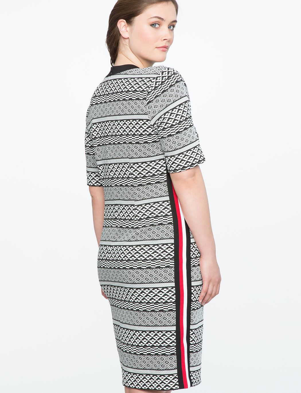 Textured Column Dress with Rib Trim