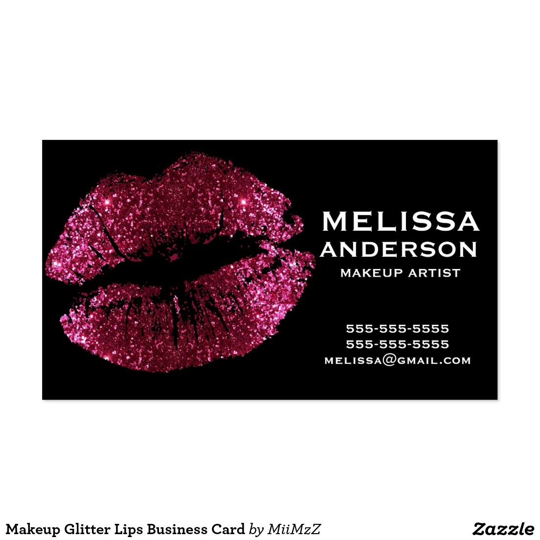 Makeup Glitter Lips Business Card #Pink #Glitter #Lips #Business ...