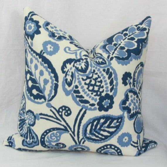 Navy Periwinkle Floral Indooroutdoor Throw Pillow Cover 40 X 40 Gorgeous 16 X 20 Pillow Cover