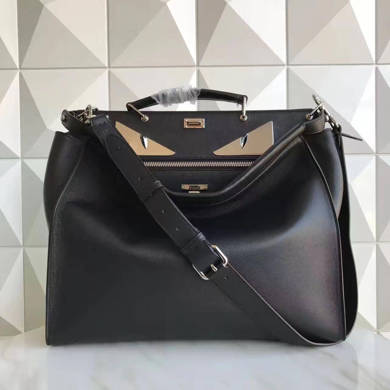 92ef00c04cd8 Fendi Black Calfskin Peekaboo Bag With Metal Bag Bugs Eyes 2017  fendipurse