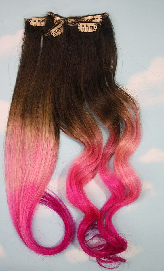 Burning Man Pink Dip Dyed Hair Extensions For Brunette Hair 20 22 Inches Long Clip In Hair Extensions Dip Dye Hair Kids Hair Color Dip Dye Hair Extensions