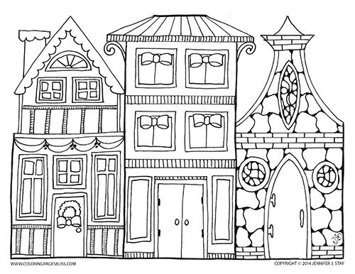 Christmas Village Coloring Page Printable Pages For Children And Adults Who Love Details