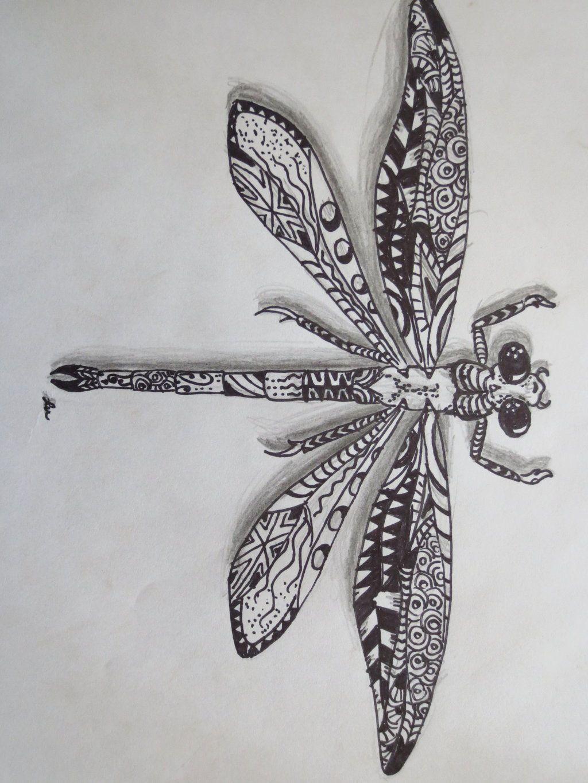 Zentangle dragonfly by luzilla.deviantart.com on @ sharon would like ...