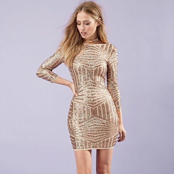 Forever 21 Sequin Rose Gold Bronze Dress Medium Mini Dress Clubwear Long Sleeve Cocktail Dress Mini Dress