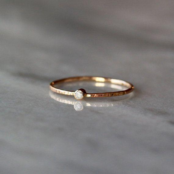 Mini Diamond Ring, Tiny Diamond Ring Gold, Slim Hammered Ban …