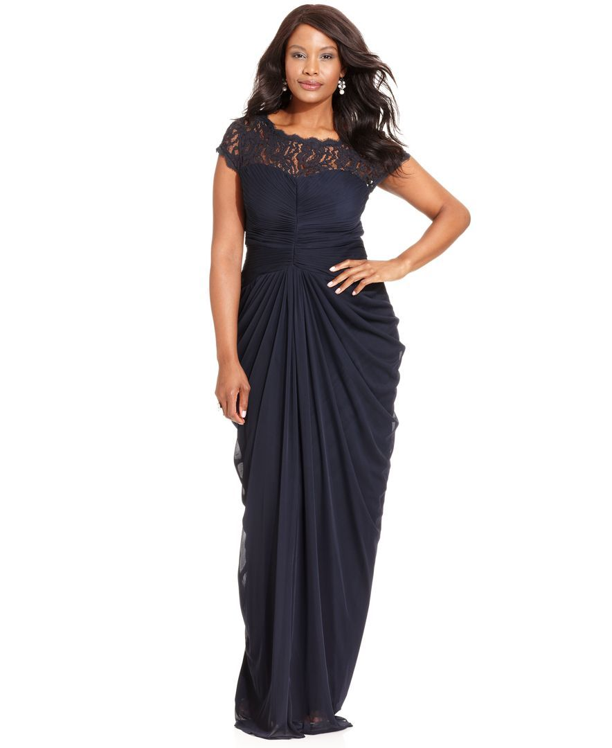 Adrianna papell plus size dress shortsleeve illusion lace pleat