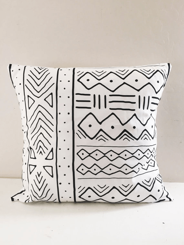 White Mudcloth Tribal Pillows Concepts And Colorways Tribal Pillow Tribal Throw Pillows Tribal Bedding
