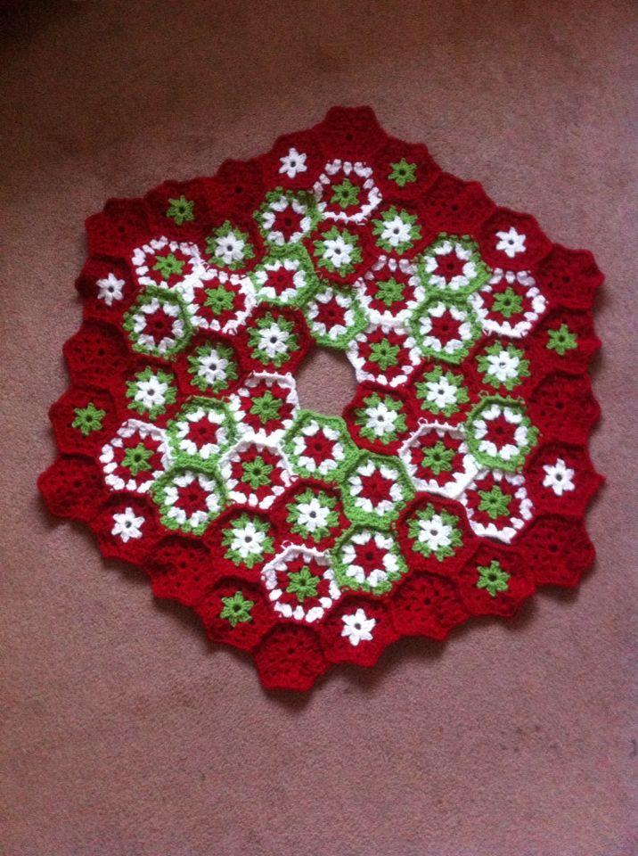 pie de rbol de navidad a crochet manualidad