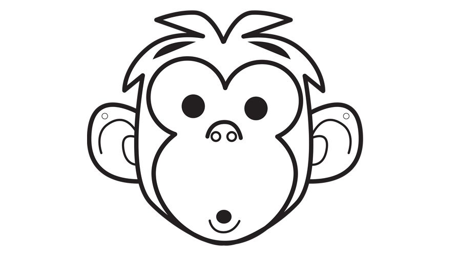 Printable monkey face outline | Animal crafts, Zoo animals ...