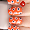 Day 10: Flowers – dotted flowers using OPI My Vampire Is Buff and Barry M Blackberry on a base of Barry M Mango