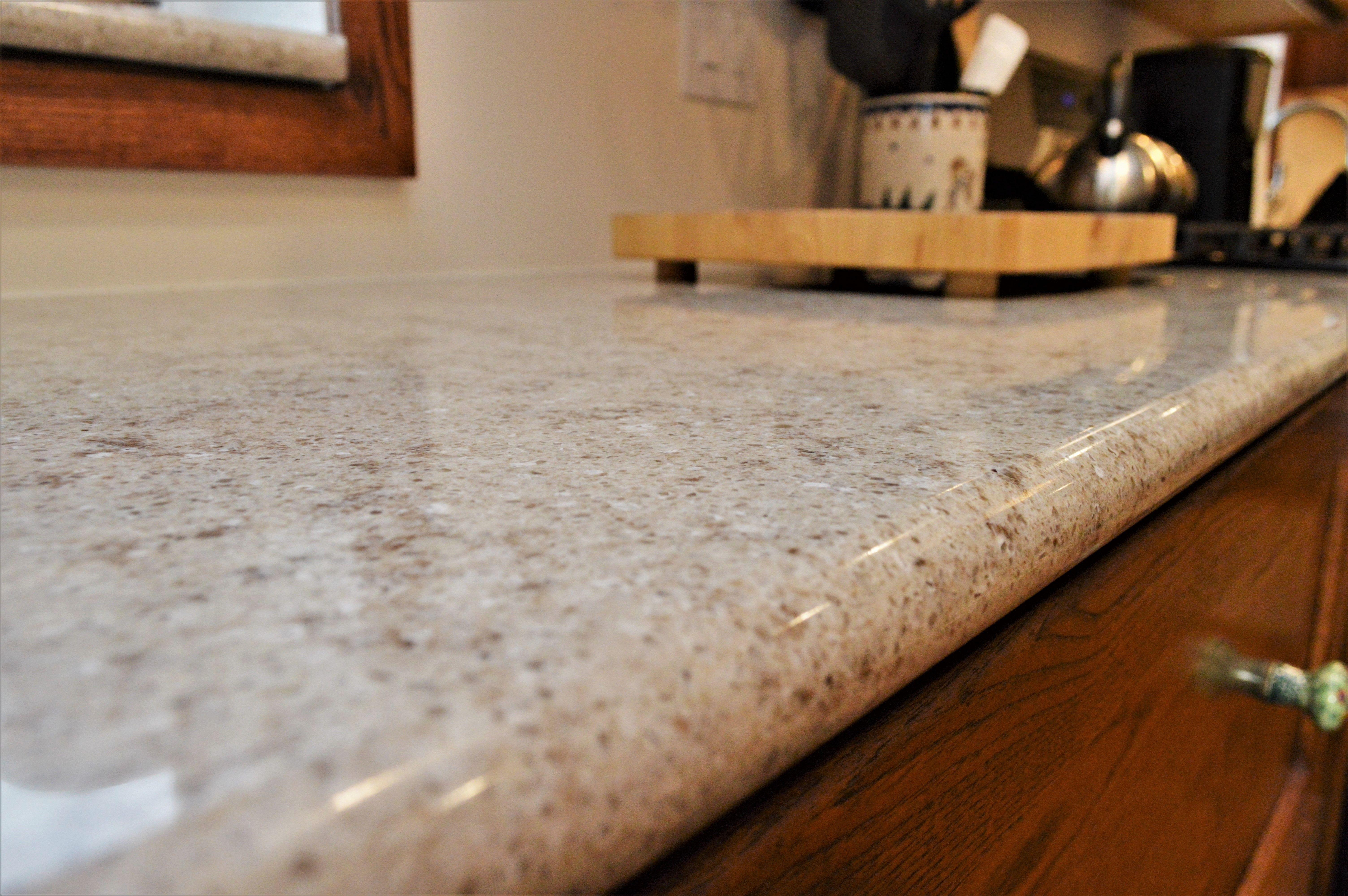 Hanstone Quartz Countertop Bullnose Edge Detail Walnut Luster Color Countertops Quartz Countertops Hanstone Quartz