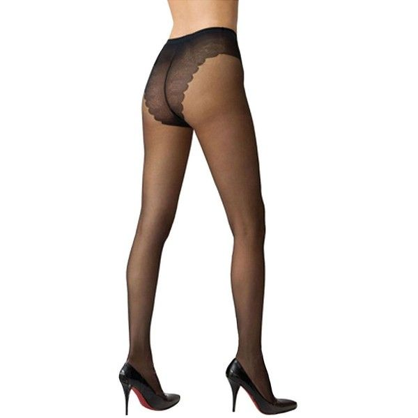 Hue French Lace Sheer Control Top Hosiery ($9.50) ❤ liked on Polyvore featuring intimates, hosiery, tights, black, pantyhose tights, sheer hosiery, lace stockings, lacy stockings and hue pantyhose