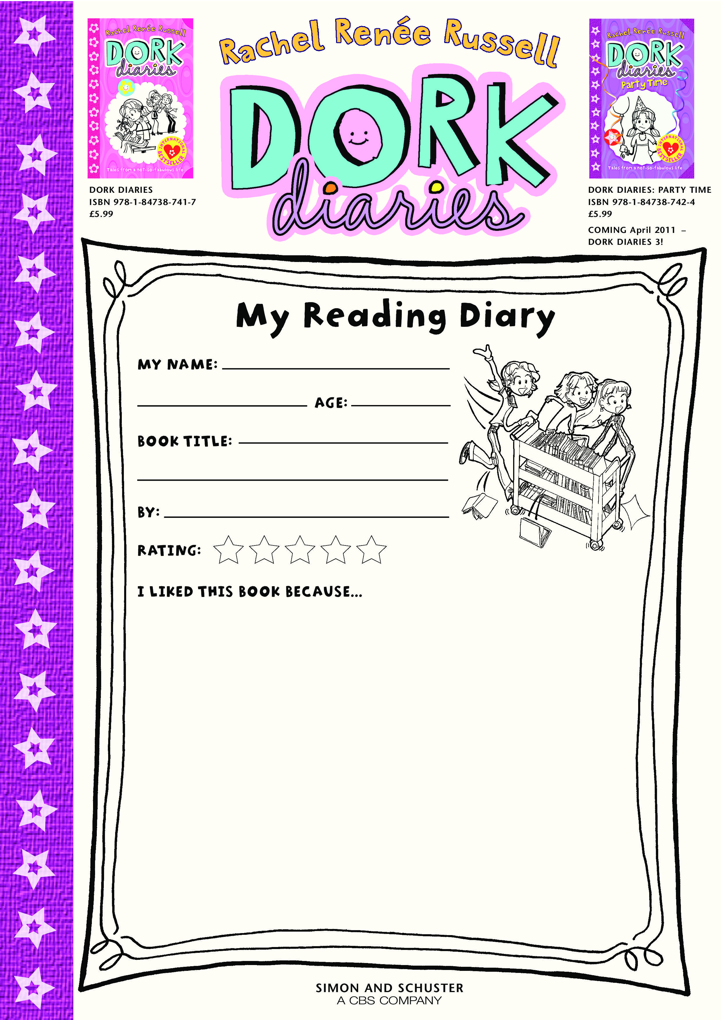 Coloring pages for dork diaries - Dork Diaries My Reading Diary