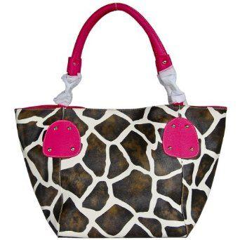 Fuchsia Giraffe Designer Inspired Animal Print Handbag Purse Bag Tote