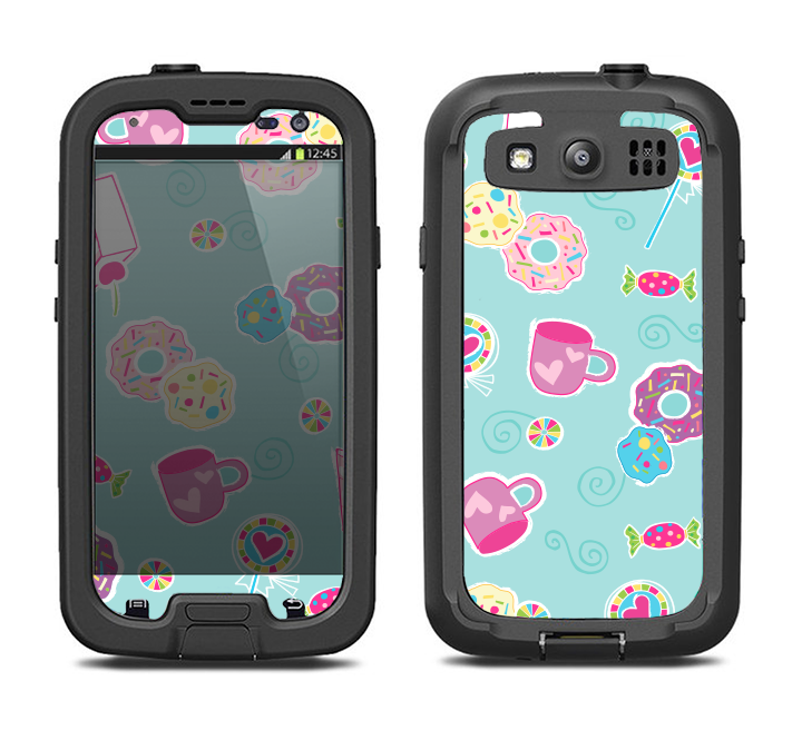 The Subtle Blue with Pink Treats Samsung Galaxy S3 LifeProof Fre Case Skin Set