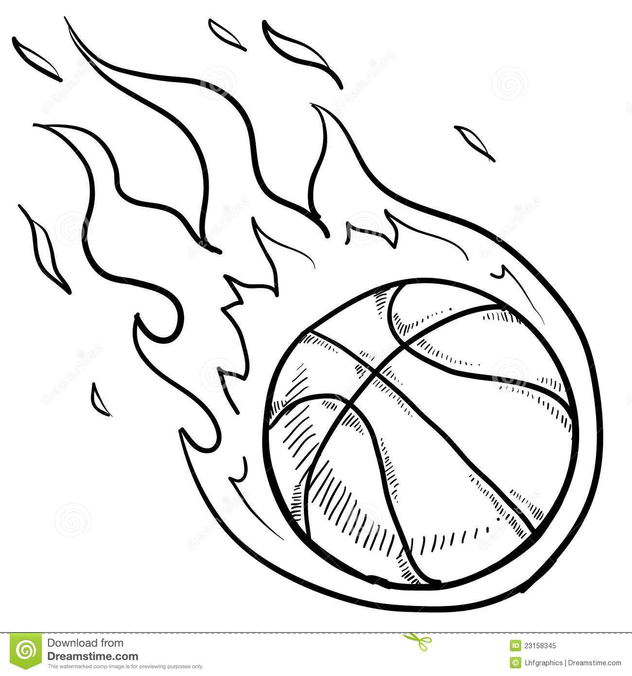 Basketball On Fire Coloring Pages