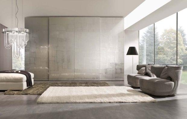 Luxus Wohnzimmer Mit Schrank Oberflche Muster Geometrisch Satin Glanz Wohn