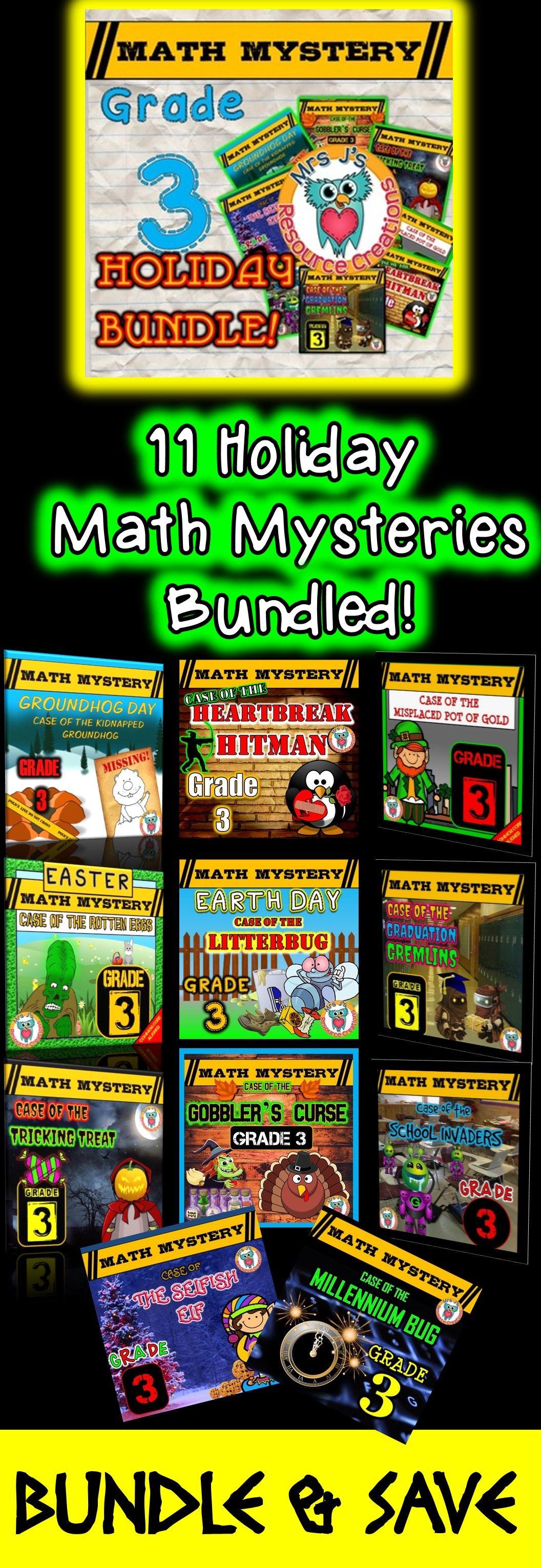 Math Mysteries Holiday Themed Bundled Grade 3 Fun Math