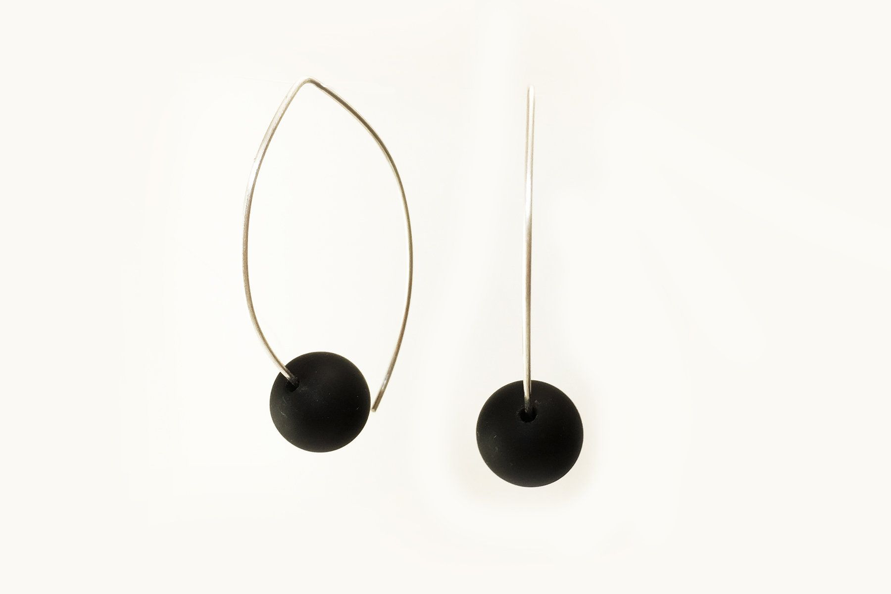 2147cc2344fb23 Onyx on Silver Wire Earrings by Claudia Endler (Silver & Stone Earrings) |  Artful Home