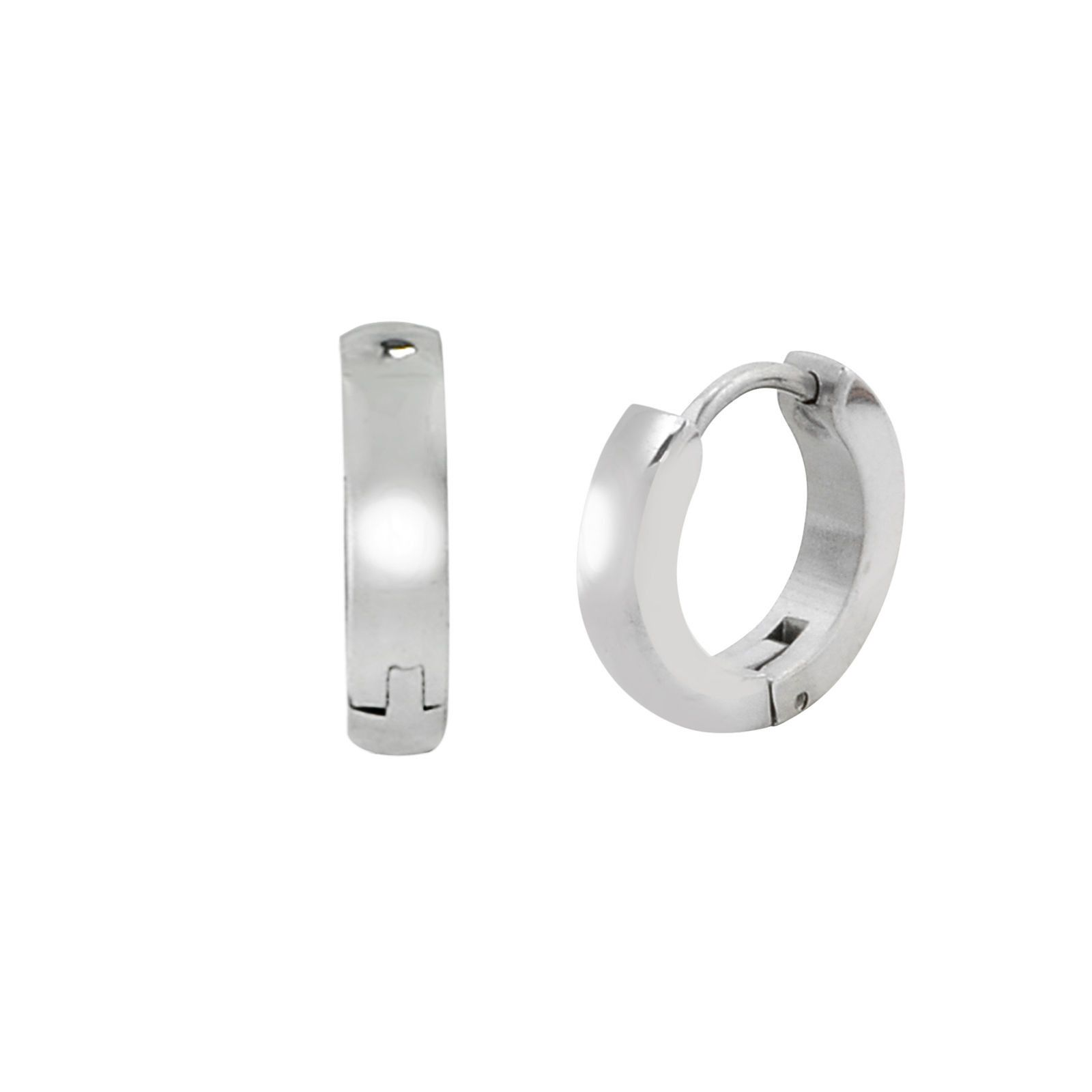 Stainless Steel Huggie Hinged Snap Hoop Earrings 13mm High Polish If you are looking for a great selection of jewelry - at very affordable prices check out www.jewelryland.com. If you like these earrings please feel free to repin or leave a comment.