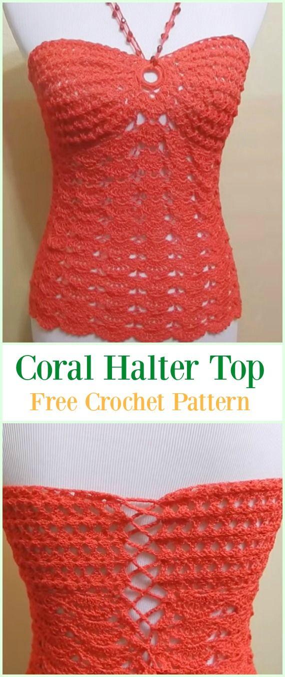 Crochet Coral Halter Top Free Pattern Video-#Crochet Summer Halter ...