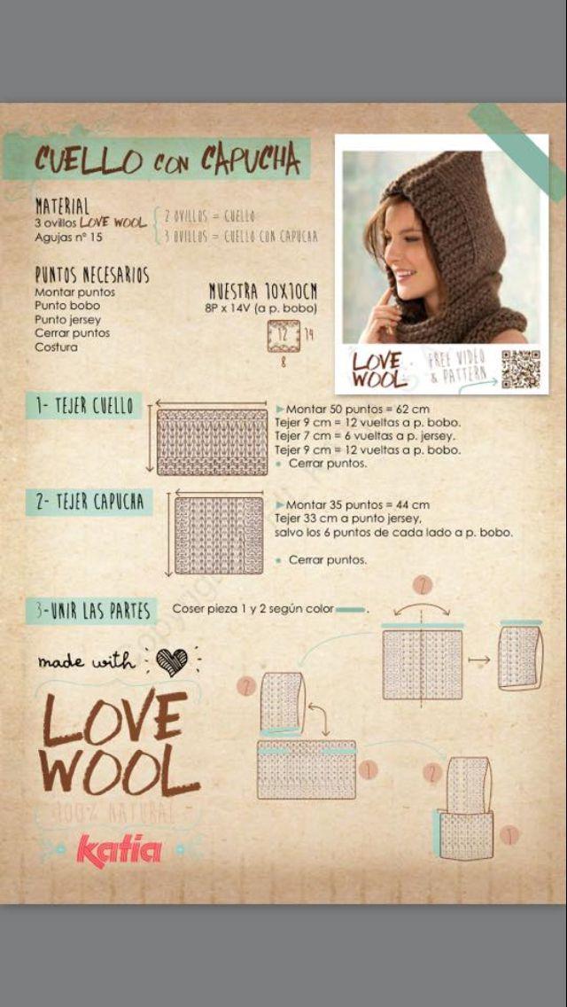 Cuello con capucha | TEJIENDO | Pinterest | Croché, Ganchillo y Gorras