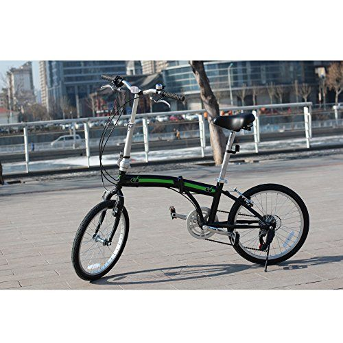 Adult Folding Bikes - unYOUsual U arc 20 Folding City Bike Bicycle 6 Speed Shimano Gear WANDA Tire Reflectors Black * More info could be found at the image url.