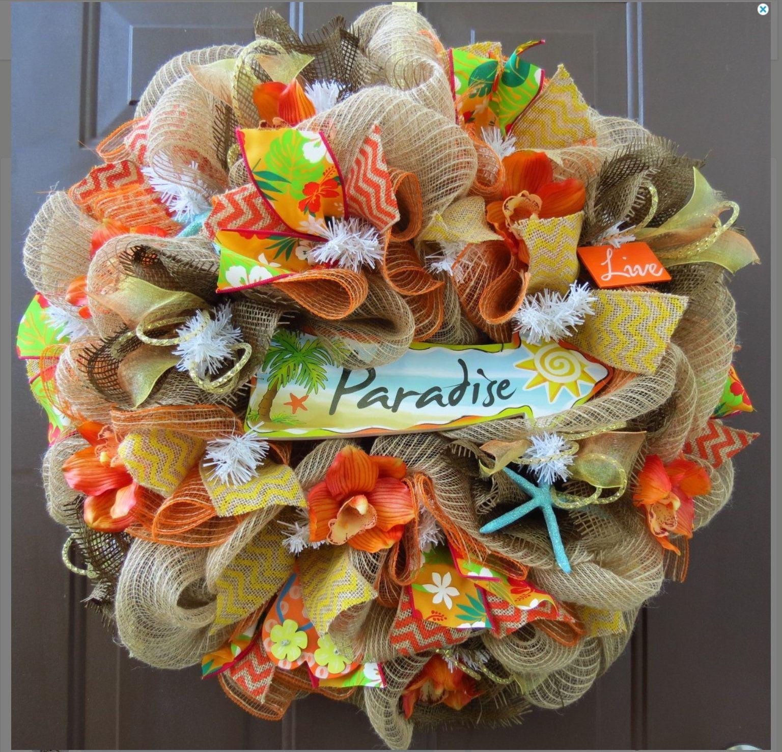 burlap mesh beach wreath paradise