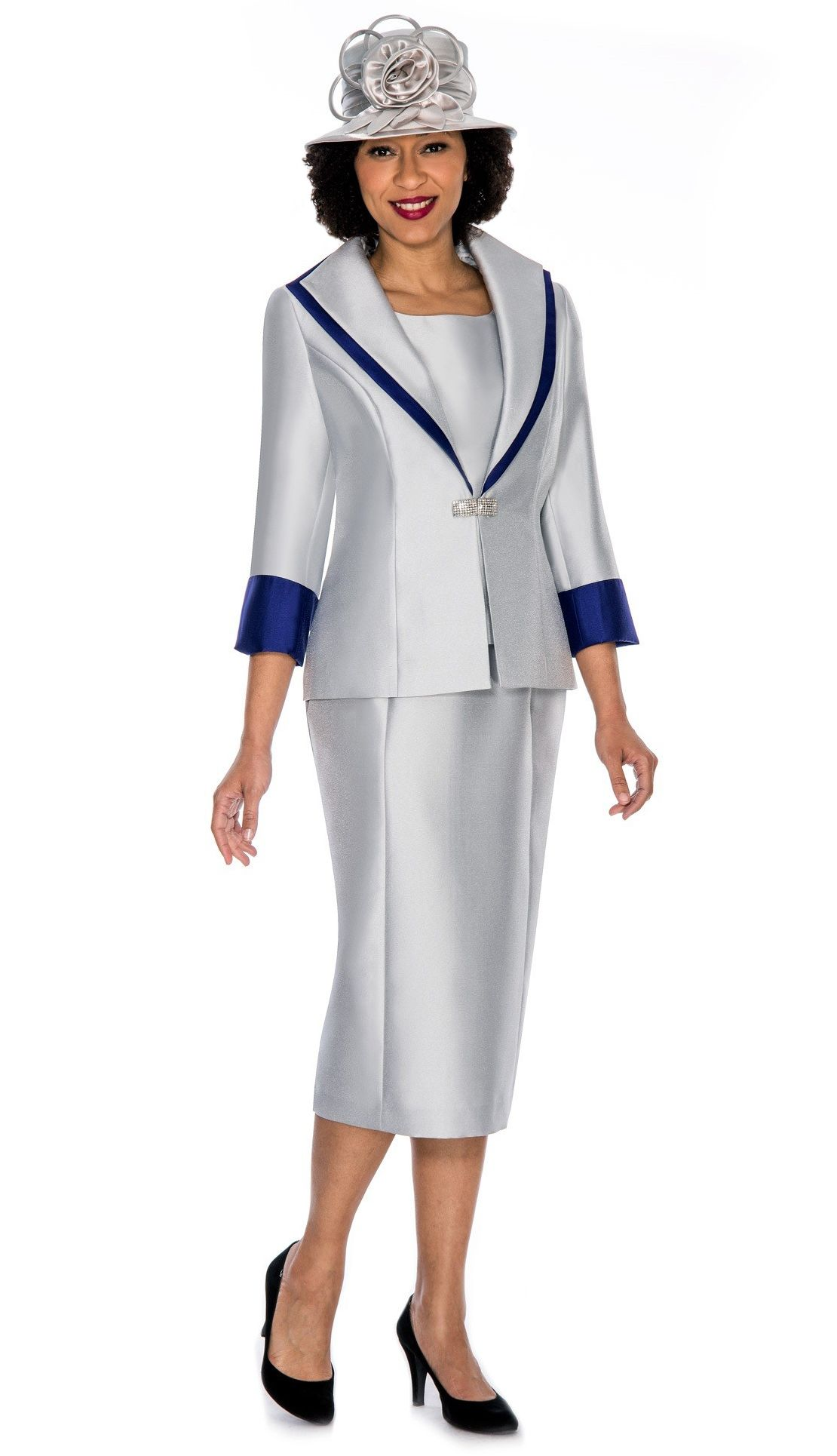 b78c33de9b5 Style Giovanna 0854-SIL 3pc Women s Suit with wide collar ...