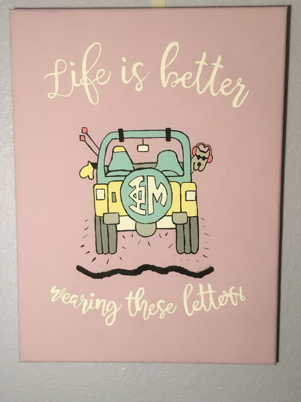 This summer is devoted to two things: work and getting ready for my littles in the fall. One of many phi mu canvases to come. #biglittlecanvas