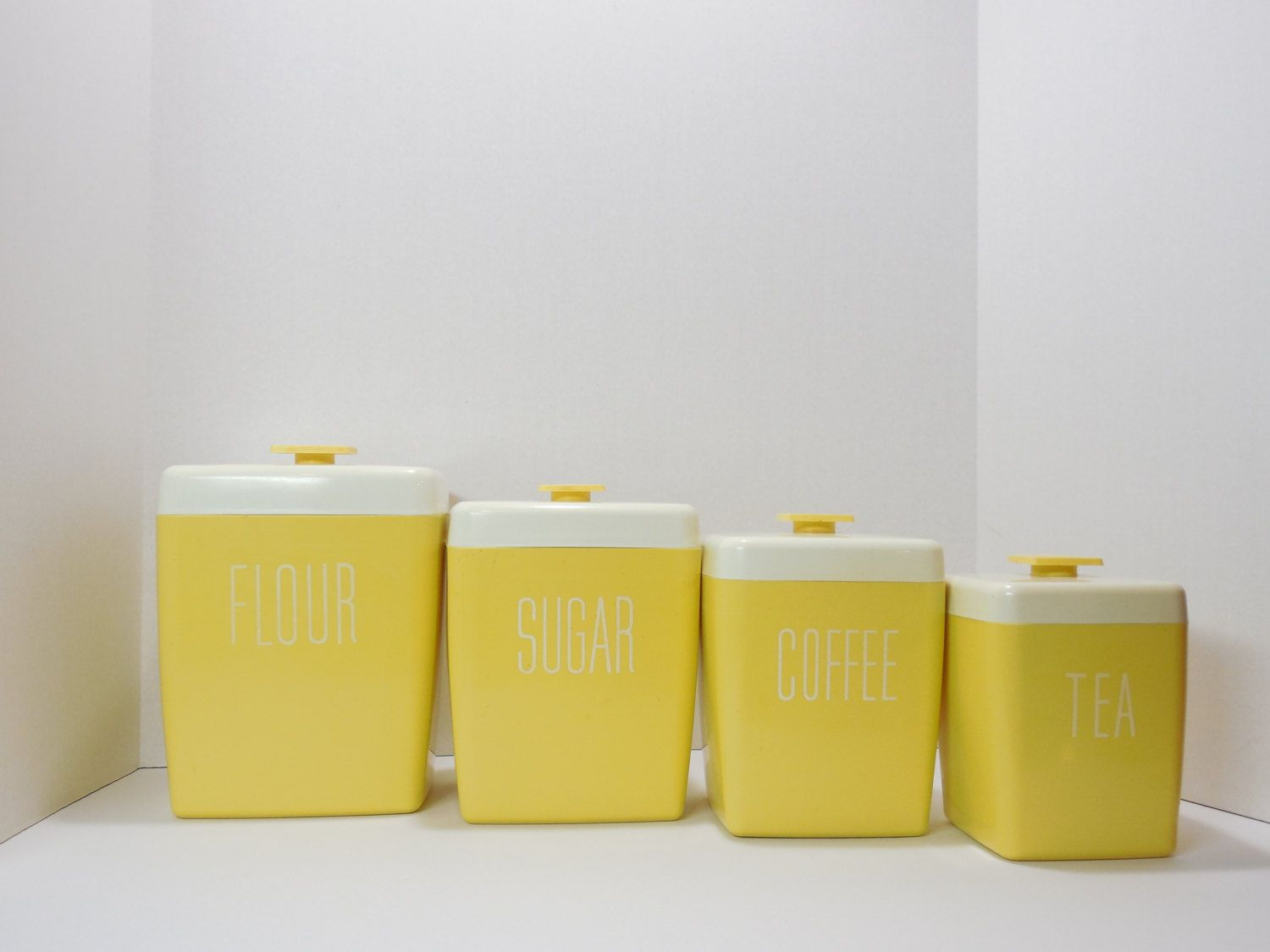 Vintage Canister Set, Retro Canister Set, Yellow Canister ...