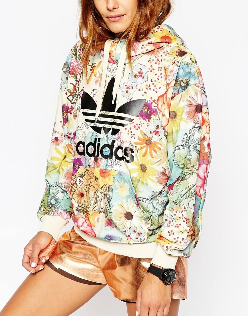 ce4a5d0b1343 Image 3 of adidas Originals Farm Pull Over Hoodie With Trefoil Logo In Floral  Print