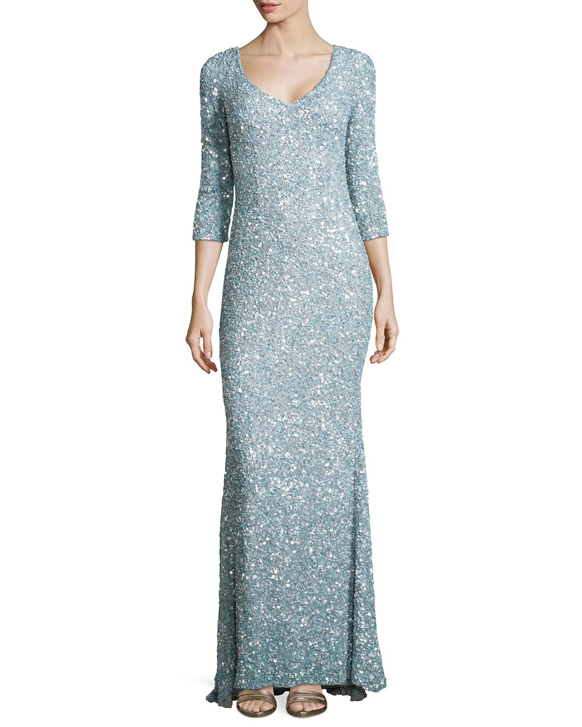 Theia 3/4-Sleeve V-Neck Sequined Gown, Cloud Blue | To dream for ...