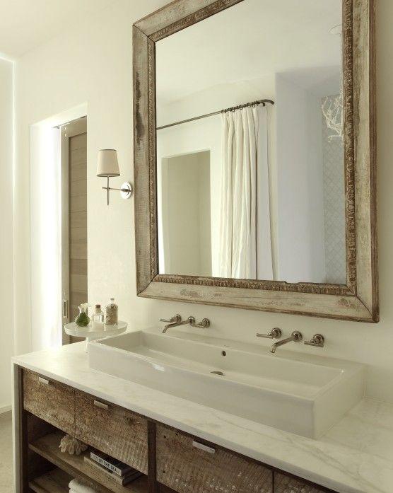 The Iron Gate: Beveled Wood Mirror, Custom Built In Bathroom Vanity With  White Vessel Sink; Need That Sink