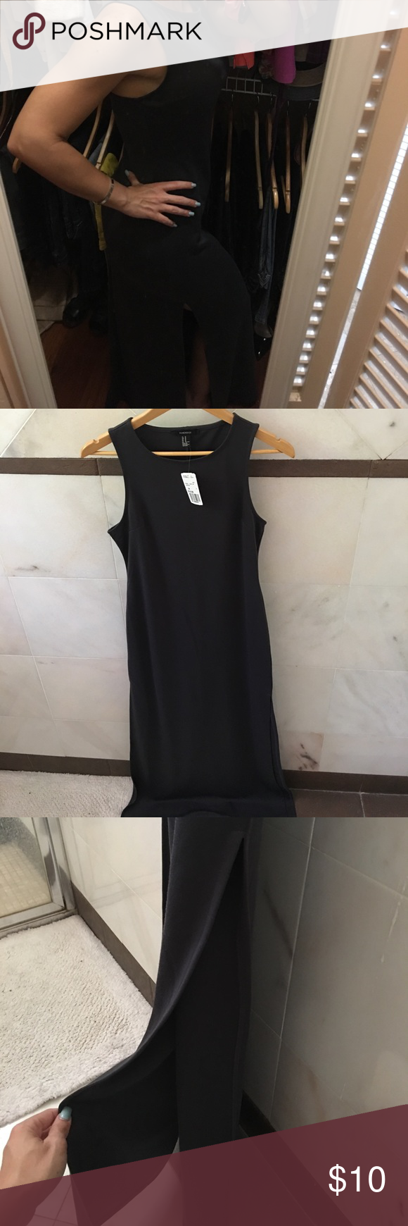 NWT maxi side slit dress Very stylish, arms are just not long enough to get the full detail. Please let me know if more pics are needed Forever 21 Dresses Maxi
