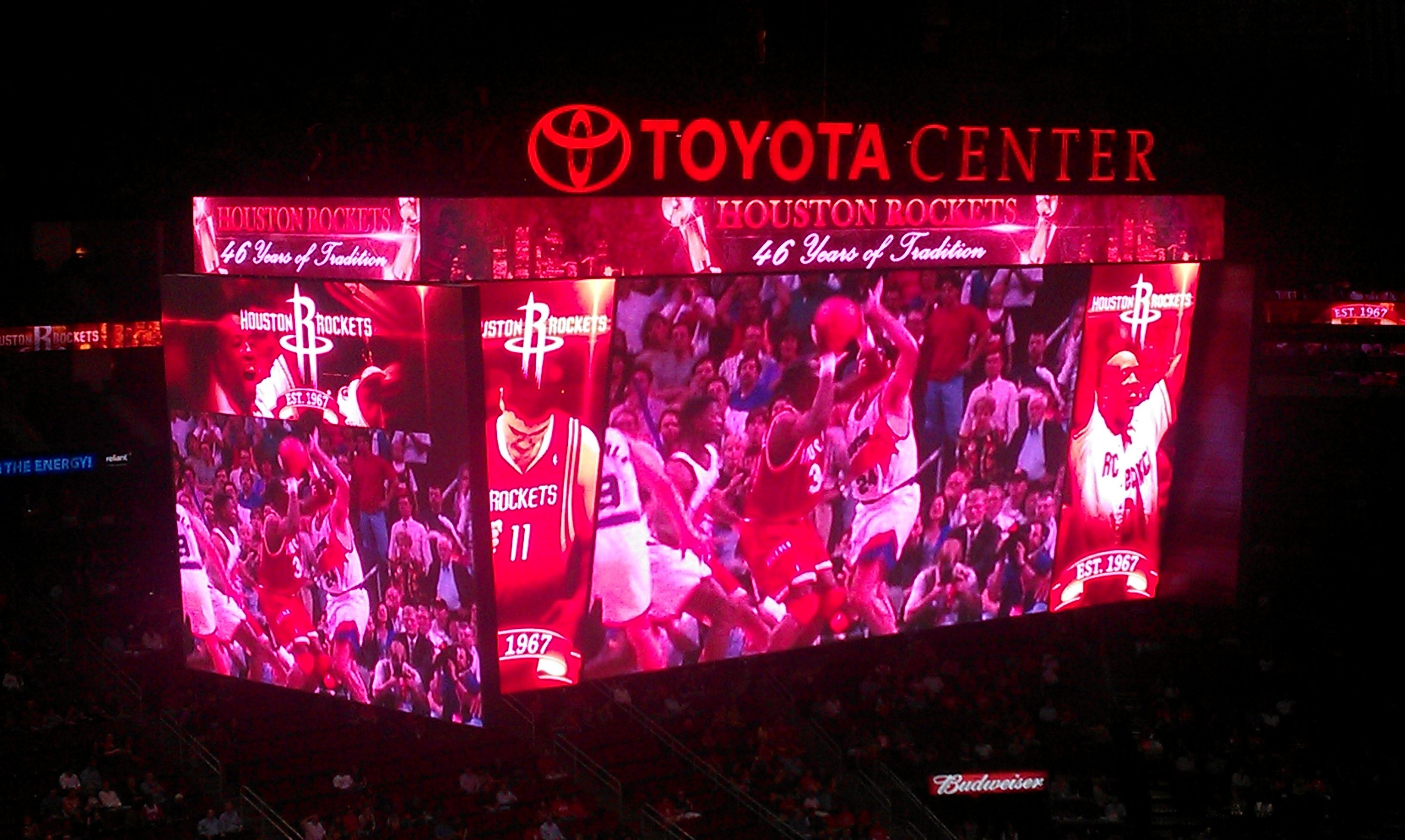 The New Toyota Center Scoreboard Is Unbelievable 4 Huge Intertwined Big Screens That Display The Game Stats And 2 Camera Angl Toyota Center Scoreboard Toyota