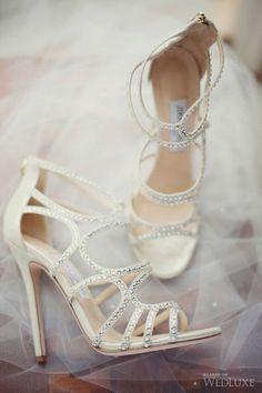 sparkly and elegant wedding shoes; photo: Vasia Weddings via Wedluxe